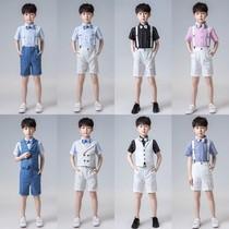 Маленький костюм для мальчиков с короткими рукавами костюм летний маленький ведущий фортепианное платье для выступлений 1 июня Одежда для выступлений в День защиты детей