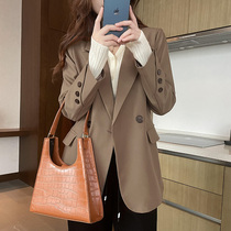 Blazer womens 2021 early Autumn New temperament casual loose double-breasted Curry long suit jacket