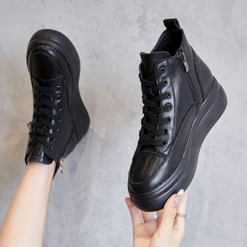 Black inner heightening women's shoes heightening 8cm2020 autumn and winter hot models short Martin boots thick bottom and velvet high top shoes