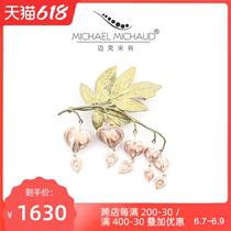 Michael Michaud Purse Peony brooch accessories Female vintage high-end elegant word pin corsage niche