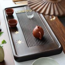 Small bridge flow water whole block of ebony tea plate solid wood wood household simple size size drainage kungfu tea set