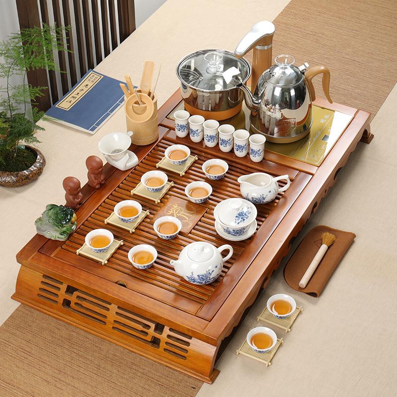 Xia Wei tea set home set of purple sand kung fu ceramic simple modern solid wood tea tray tea ceremony fully automatic
