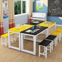 Childrens kindergarten art table painting table childrens studio training class desk chair painting table