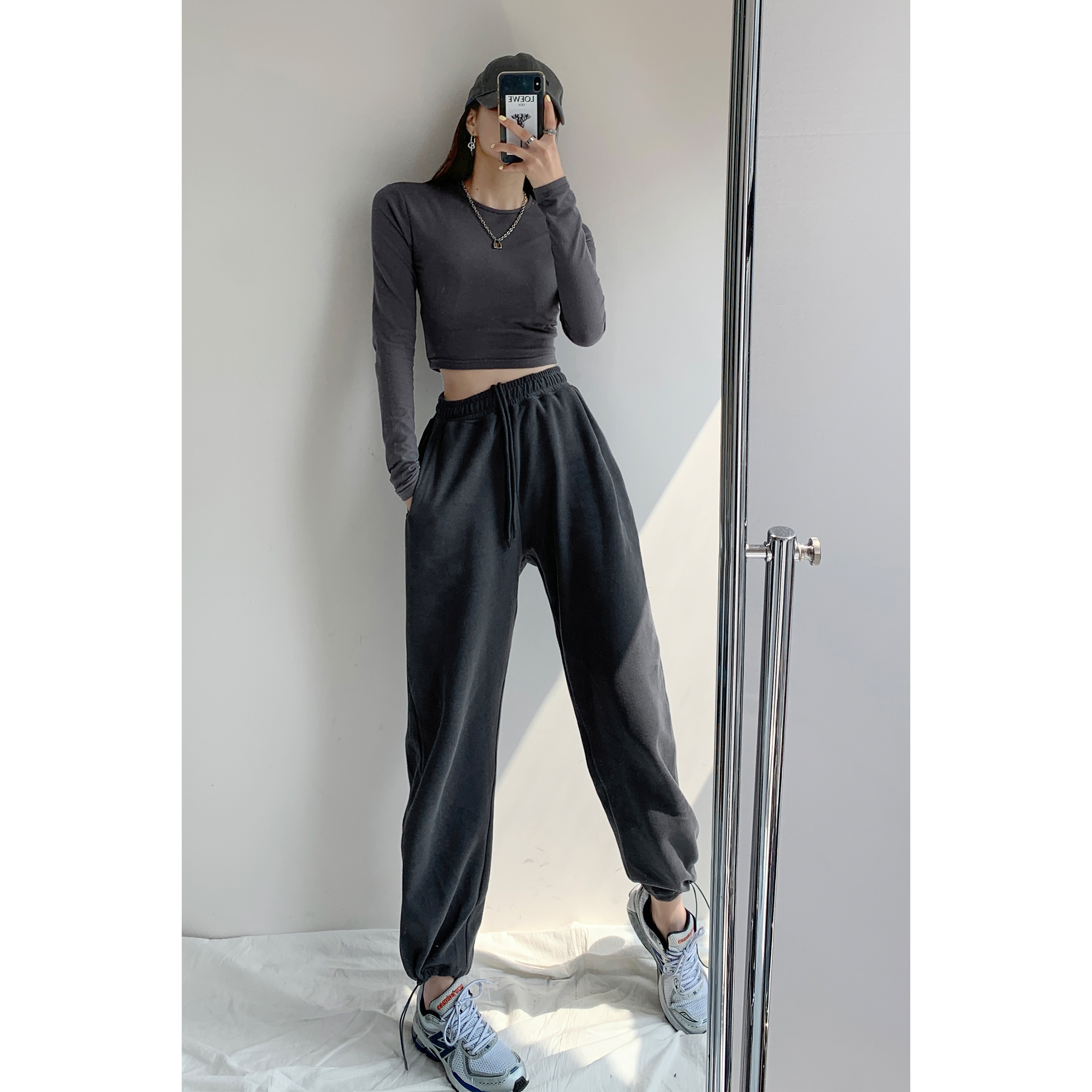 Fried Street American Loose Sports Pants Women's Casual Leggings Pants Autumn and Winter Plus Velvet Gray High Waist Straight Sweatpants