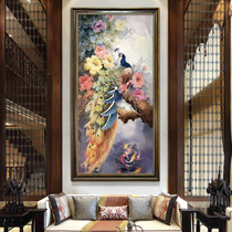 American living room Xuan Guan Decorative Painting vertical edition hand-painted oil painting peacock villa staircase aisle hanging European murals