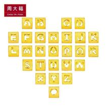 Chow Tai Fook gold pendant gold necklace letter transfer beads beads baby jewelry jewelry pricing fee 48 F