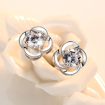 Lao Fengxiang pure platinum PT950 stud earrings for women 18K white gold Mo Sang diamond earrings earrings Valentines Day gift