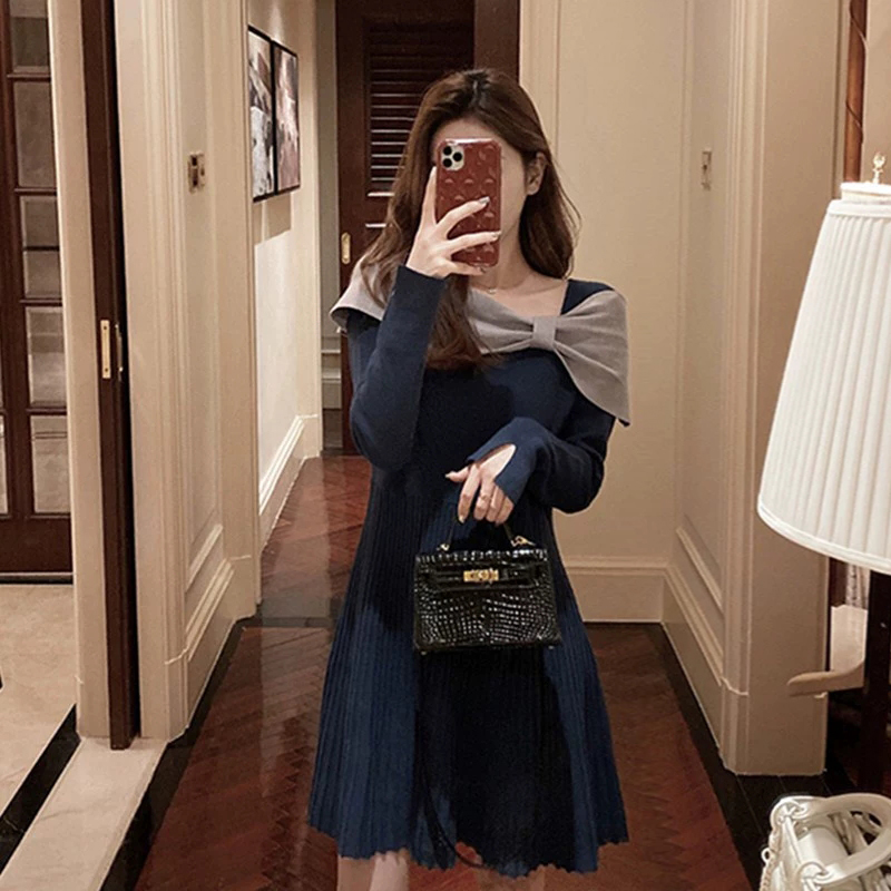 Europe station autumn and winter new womens youth pie age-reducing chic design feel dress knitted bottom skirt