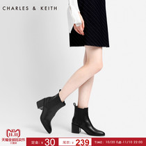 Charles&keith Winter medium heel ankle boots ck1-90900056 neutral toe Chelsea boots