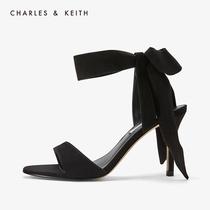 Чарльз & KEITH моно обувь CK1-60360965 дамы слово ремень бант ремень каблуки сандалии