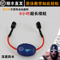 Bone conduction head wearing ear-mounted headphones for underwater walkie-talkie swimming training teaching