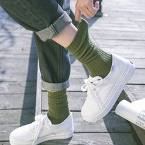 Gray blue in the child autumn tide socks army green socks summer female short summer thin paragraph in the tube girl College wind cotton socks