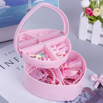 Cute peach heart-shaped jewelry box Japanese children and girls desktop multi-layer collection of small objects finishing box with mirror
