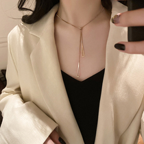South Koreas pure silver necklace womens ancient generous luxury high-end feeling tide adjustable sweater long version of the 2020 new model