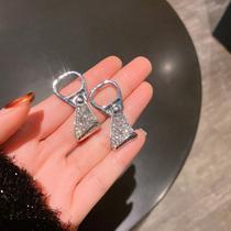 Earrings womens summer niche design sense cans pull ring cold wind sterling silver stud earrings 2021 new trend earrings