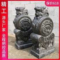 A pair of stone carved door piers for household town house lion unicorn pixiu bluestone Antique made old door piers stone drum drum drum stone