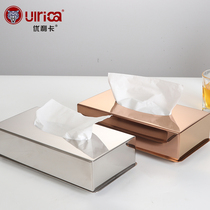 Stainless steel square table tray table towel box Napkin box bedroom living room hotel tray.