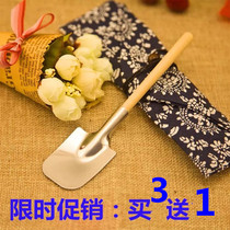 Spoon food grade stainless steel creative spade spoon wooden handle spoon coffee spoon stir spoon shovel scoop Buy 3 Send 1