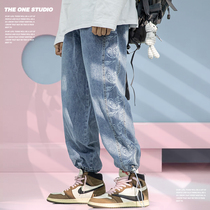 THE ONE cashew flower stitching straight jeans mens street hip-hop can tie feet ins trendy brand retro workwear pants.