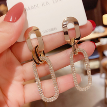 European and American personality fashion temperament super flash South Korea s925 sterling silver earrings temperament wild geometric oval exaggerated drop earrings
