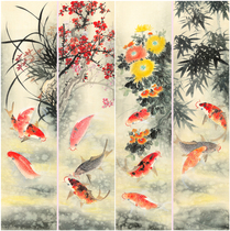 Four screens Chinese painting boutique four screen flower birds (lotus fish 1) unloaded works cheap sales P