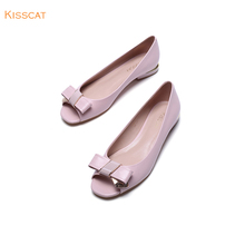Kisscat Kissing Cat 2019 New Low-heeled Flat-soled Butterfly Knot Fish Mouth Shallow Single Shoe, Sheepskin Thick-heeled Women's Shoes