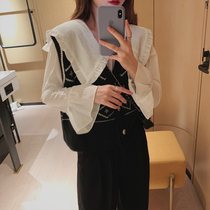 2020 spring and autumn new Korean version of the Yang Qi chiffon shirt female long-sleeved Fairy Doll collar net red wild inside the coat