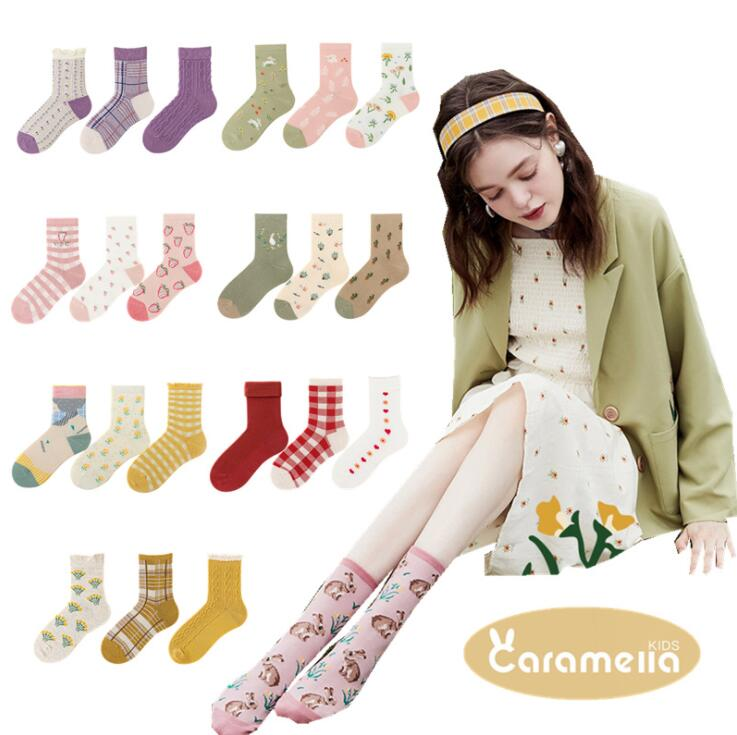 Autumn and winter three pairs of colors are cotton womens stocking bubble socks