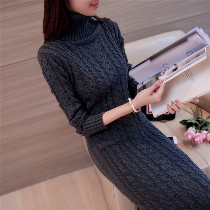 Autumn winter cashmere plus thick dress women knitted set head over knee sweater high-necked cashmere skirt slim long skirt