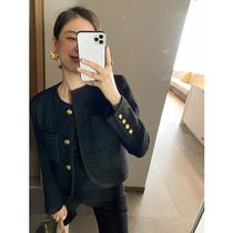 ADA MISS Autumn new black woven fragrant wind loose profile slim short woolen suit jacket jacket women