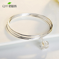 999 sterling silver bracelet female Crown multi-ring Japan and South Korea version of simple solid personality Jewelry Bracelet Valentines day girlfriend