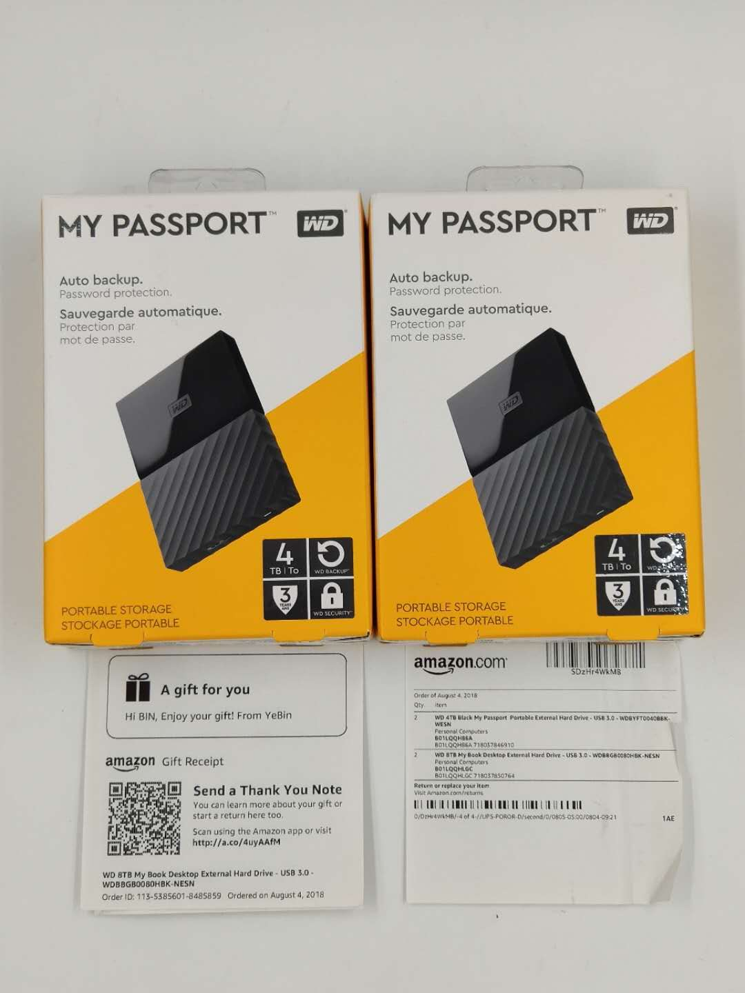 WD Western Data Mobile Hard Disk My Passport 4tb Elements 4tb USB3.0 Encryption