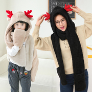 Cute female Winter Scarf cap antlers three piece female Korean female hat scarf glove one student thickening