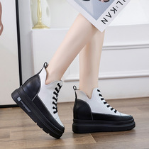 Thick bottom muffin increased female shoes 2020 new Spring Leisure plus velvet leather small small white shoes