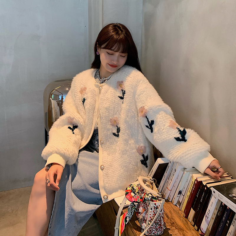 DEARHUA small flower family King of Flowers 20 new flowers imported mink fur woven jacket D220