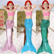 Mermaid tail children clothing girls swimsuit three suit baby split swimsuit birthday gift with fins