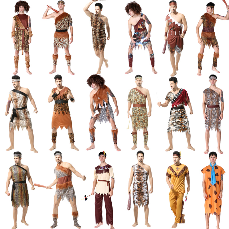 Halloween Cosplay Cosplay costumes adult male aborigines African primitive Indian savages