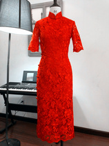 The old traditional cheongsam Silver according premium positive red full embroidered lace traditional Republican vintage overall buckles toast clothing