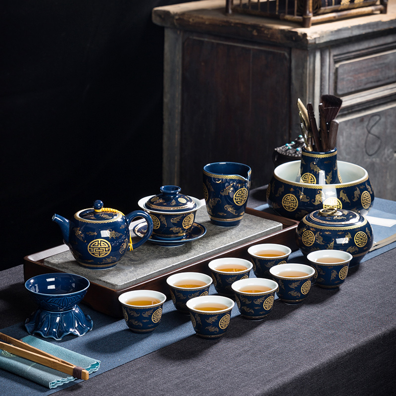Ceramic blue tea set home silver kung fu tea set teapot cover bowl teacberry group support customization