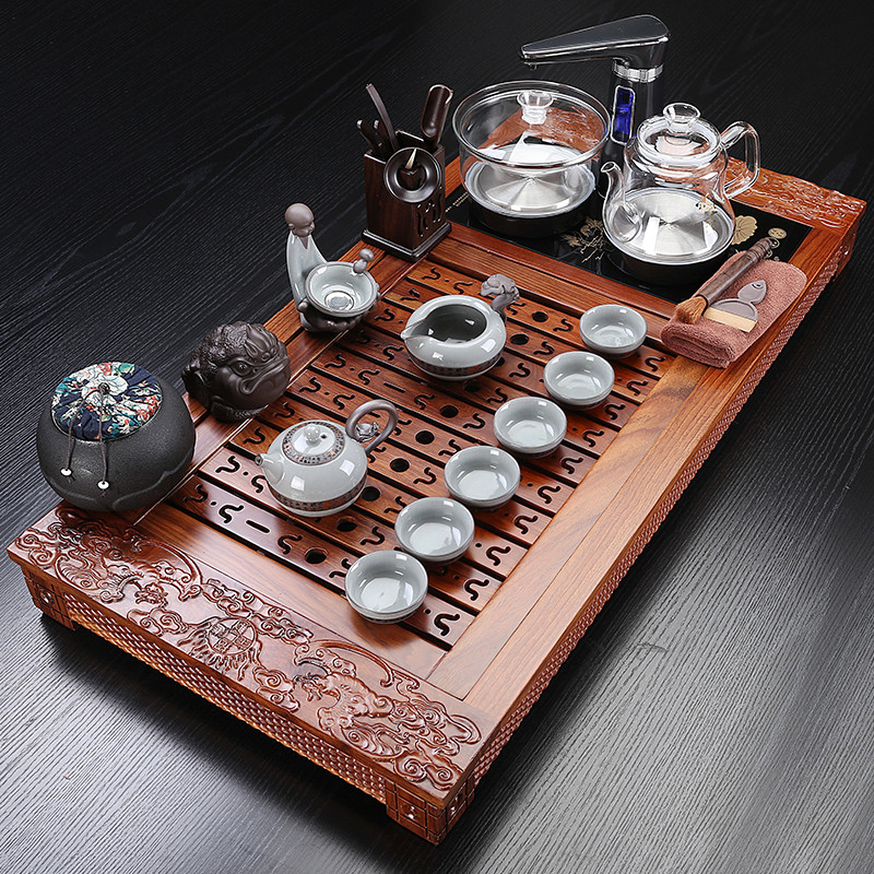 Kung Fu Tea Set Pear Solid Wood Tea Tray Tea Set Automatic Quick Furnace Complete Home Simplicity