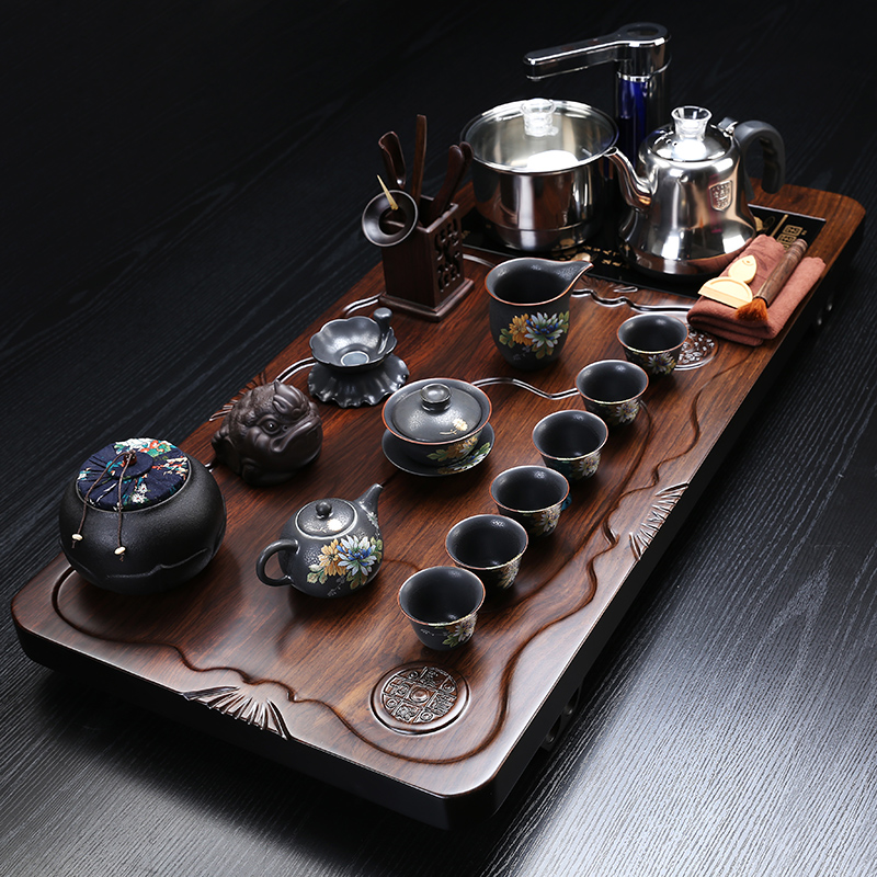 Kung Fu tea set home complete block of ebony solid wooden living room Chinese tea plate fully automatic and simple