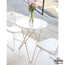 Discuss table and chair combination simple casual dessert milk tea shop Western Cafe marble coffee table Iron Line chair combination