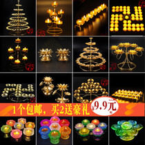 Colorful crispy oil lamp seat lotus household glass lantern for Ford frame step up 108 candlestick