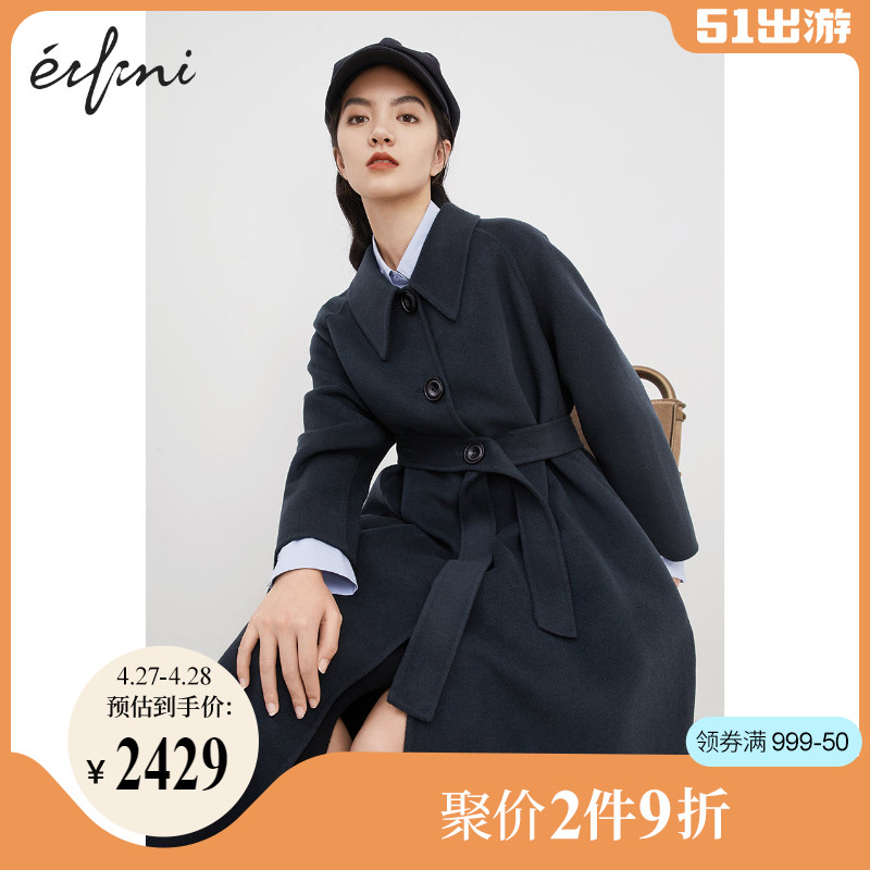 Eve coat womens 2020 winter new wool single-breasted double-sided long fashion wool coat