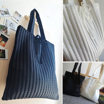 shipping Korea lace openwork mesh canvas bag shoulder bag women bag literary solid vertical stripes cloth bags