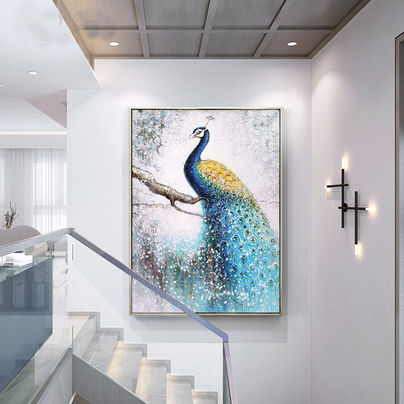 Yuanmeijia Hand-painted Oil Paintings Customized Peacock Hanging Paintings European-style Porch Decorative Paintings Vertical American-style Living Room Corridor Murals