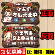 Shops are in business listing double-sided creative door welcome to visit the event out of the telephone sign customization