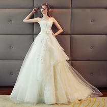 Simple show thin Princess European and American Court small tail pregnant women wedding dress