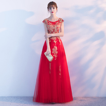 Spring and summer red large wedding show thin pregnant woman self-cultivation toast clothes