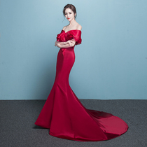 One word shoulder collection waist tail Banquet noble elegant toast clothes